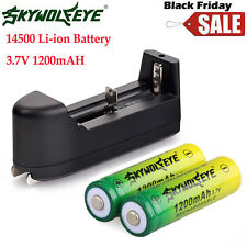 2PCS 14500 3.7V 1200mAH BRC Lithium Rechargeable Li-ion Battery + Smart Charger