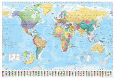 POLITICAL MAP OF THE WORLD - POSTER / PRINT (WORLD MAP WITH FLAGS - 2016)