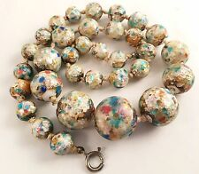 Antique Art Deco Opalescent Rainbow Spatter Foil Glass Bead Necklace Venetian