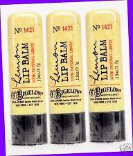 3 Bath & Body Works CO Bigelow LEMON Lip Balm Chap Stick Natural Lemon Extract