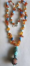 "OLD VINTAGE CHINESE CARVED TURQUOISE AMBER LAPIS BEADS 28""   NECKLACE"