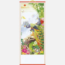 CHINESE WALL HANGING SCROLL - BAMBOO PEACOCKS - 82cm LENGTH - FREE UK P&P