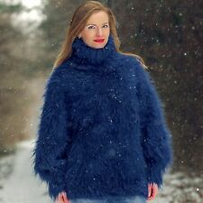 SUPERTANYA BLUE Hand Knitted Mohair Sweater FUZZY Turtleneck Warm Fluffy Jumper