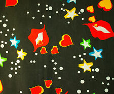 vintage 1960s Pop Art lips,hearts & stars print pure cotton fabric