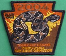 Pa Pennsylvania Fish Commission NEW Non-Game 2004 BLACK PHASE Rattlesnake Patch