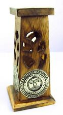 Mini Carved Sloping Incense Stick And Cone Tower Burner With Aztec Emblem  (Z68)