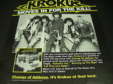 KROKUS change address & move in for the kill VINTAGE Promo Display Ad mint cond
