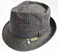 VINTAGE AUTHENTIC ANGELO LITRICO PLAID GRAY MEN'S FEDORA HAT SIZE:US 6 7/8;EU 55