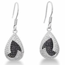 Women's Elegant Black/White Platinum Overlay Diamond Teardrop Dangle Earrings