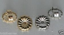 2 Pairs 7mm Premium Solid 14K Yellow & White Gold Large Safety Earring Backs