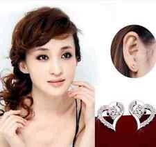 Lady Sweet Gift Ear Stud Silver Crystal rhinestone Love Heart Earrings Jewelry