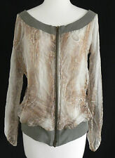 Sandro Jacket/Top Silk Size M-L Sheer Full zippered Front Multi-Color Boay Neck