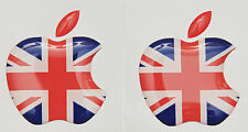 2 x 3D Domed UK flag/Apple logo stickers for iPhone, iPad cover. Size 35x30mm