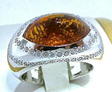 BEAUTIFUL GIORGIO VISCONTI 18 KT WHITE GOLD CITRINE AND DIAMONDS RING 6