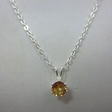 sterling SILVER round amber CZ pendant 925 Chain women Necklace 18 inche