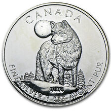 2011 1 oz Silver Canadian Wolf Coin - Wildlife Series - Abrasions