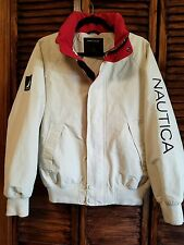 Vintage Nautica Men's S Jacket Windbreaker Cotton Red Ivory Blue Rare!
