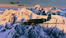 Robert Taylor print, Special Duties, autographed by 5 Ju52 aircrew and 2 aces