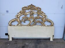 Ornate Hollywood Regency Style Gold Gilt Carved Wood King Size Headboard