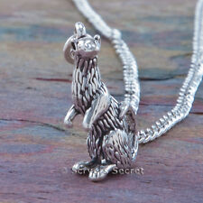 925 sterling silver FERRET Animal Pet  3D Charm Pendant & Chain Necklace