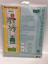 "NEW, DIMENSIONS "" OWL GROWTH CHART"" COUNTED CROSS STITCH, 9"" x 40"", 14-COUNT"