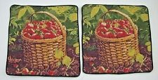 Handmade Strawberry Needlepoint Pillow Covers Lot 2 Wool Velvet Primitive Case