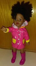 "Madame Alexander African American Doll 18"" w/ Pink Raincoat & Boots Style# 67051"