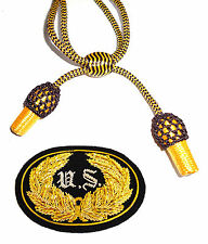 American Civil War Union US Officers Badge & Black & Gold Slouch Hat Cord