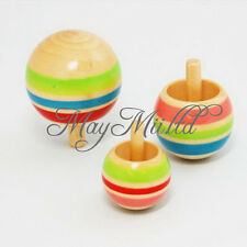3pcs Wooden Colorful Spinning Top Kids Wood Children's Party Toy