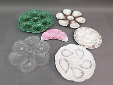 Lot (6) Hand Painted Porcelain & Glass Oyster Plates - Limoges & Other