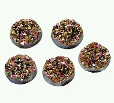 5 Pink Multi Coloured Round Resin Druzy Cabochon 12mm Jewellery