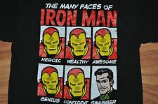 T-SHIRT LARGE THE MANY FACES OF IRON MAN COMIC SUPER HERO MOVIE