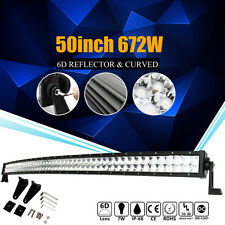 CREE 6D 672W 50Inch Curved Flood Spot LED Light Bar For Offroad Truck Lamp 52''