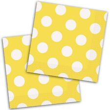16 Yellow White Polka Dot Spot Style Party Disposable 5in Paper Beverage Napkins