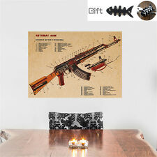 Art Kraft Poster Gun AKM Assault Rifle AK47 Structure wall sticker Decor + GIFT