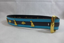Vintage Escada Belt Leather Gold Tone Buckle Teal & Black Size S/M Made in Italy