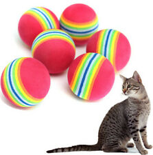 FD3254 Colorful Pet Cat Kitten Soft Foam Rainbow Play Balls Activity Toys ~2PCs~