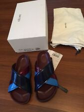 Women Celine Criss-Cross Boxy Sandals Bordeaux Navy SS15 sz 37 7