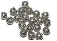 10mm Round Tudor Flower Round Antiqued Silvertone Metalized Metallic Beads