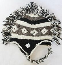 H125 Hand Knitted Mohawk Woolen Hat Cap with Fleece Lining Adult Made In Nepal