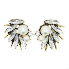 ZARA ELEGANT WHITE PEARLS CLEAR GOLD SPIKES STUD EARRINGS - NEW