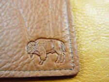 Brown Bison Buffalo Leather Card Case Wallet hand crafted disabled vet 5041