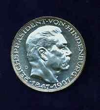 "GERMANY ""VON HINDENBURG 80TH BIRTHDAY"" SILVER MEDAL BY: KARL GOETZ, MINT STATE!"
