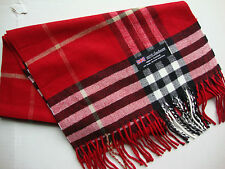 100% Cashmere Winter Scarf Scarve Scotland Warm Red Black White Check Plaid NEWL