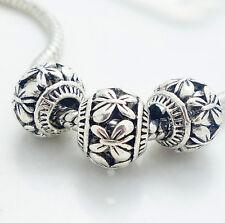 5PCS Silver Retro Spacer European Charm BeadS Fit Necklace Bracelet