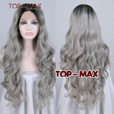 """24"""" Mixed Grey Women Lady Synthetic Hair Heat Resistant Curly Lace Front Wig"""