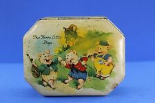VINTAGE TIN LITHO THREE LITTLE PIGS TIN CANDY BOX