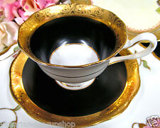 ROYAL ALBERT TEA CUP AND SAUCER CROWN CHINA BLACK & GOLD REGENCY TEACUP PATTERN