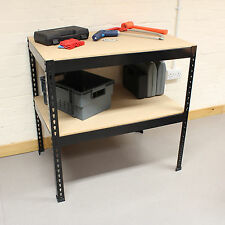 Black Heavy Duty Steel Work Bench/Station/Wood Shelves for Garage/Warehouse/Shed
