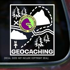 GEOCACHING Map Game GPS Geo Vinyl Sticker Wall Laptop Car Sign WHITE DECAL